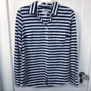 """J Crew Navy & White Stripe Nautical """"Boy"""" Blouse 4"""